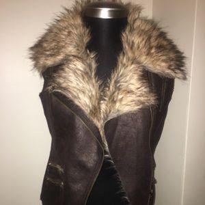 Faux fur leather vest